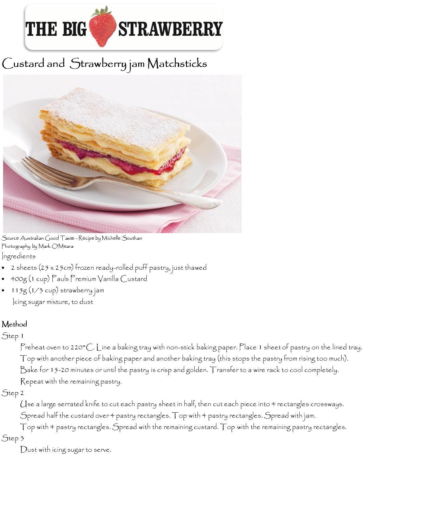 Custard + Strawberry Jam Matchsticks
