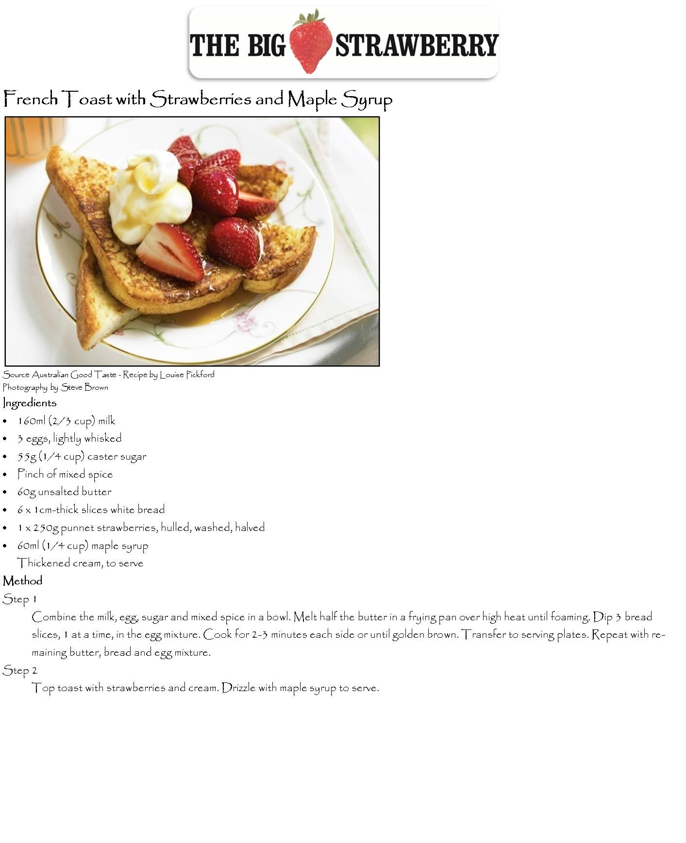 French Toast with Strawberries + Maple Syrup