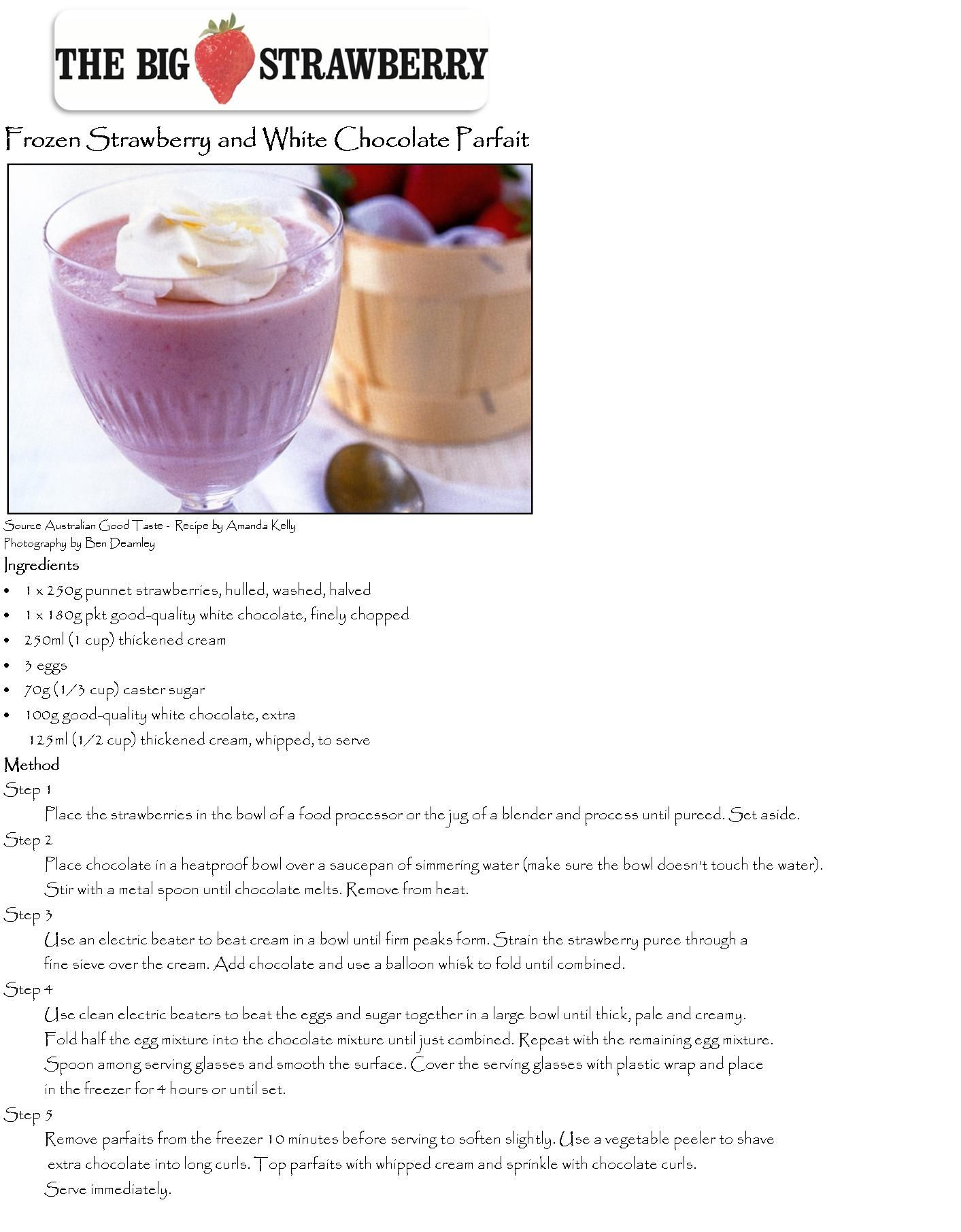 Frozen Strawberry + White Chocolate Parfait