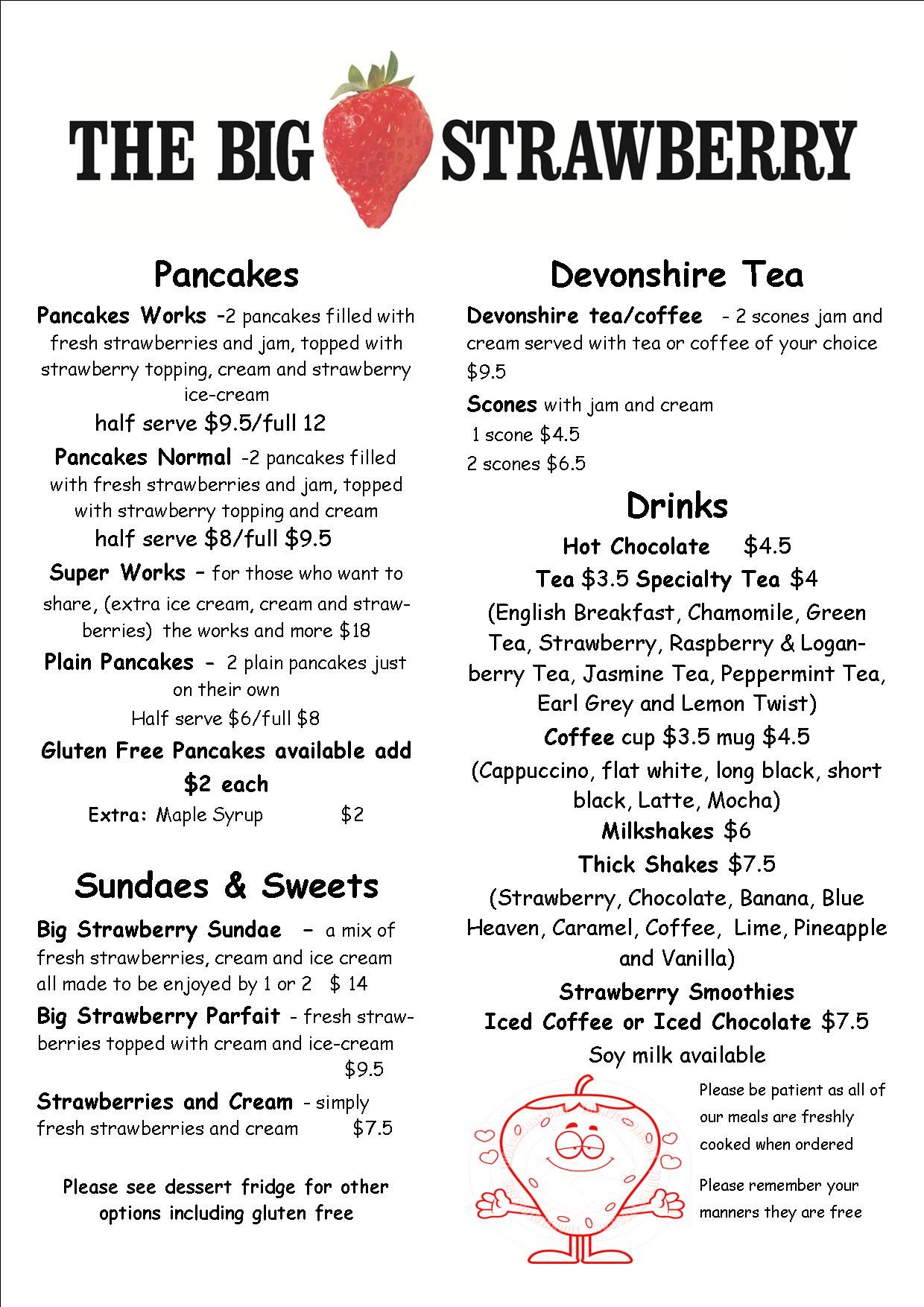 The Big Strawberry menu page two