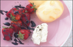 Balsamic Reduction Strawberries with Pepper & Almond Wafers