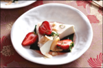 Coconut Cream Pudding with Strawberries & Kaffir Lime Syrup