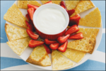 Crispy Crepe Triangles with Yoghurt & Strawberries
