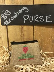 Big Strawberry Hessian Purse