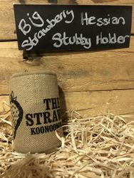 Big Strawberry Hessian Stubby Holder